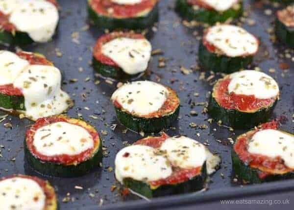 Yummy courgette or zucchini pizza bites - these make a tasty gluten free snack for kids and adults too - with free kid friendly printable recipe sheet